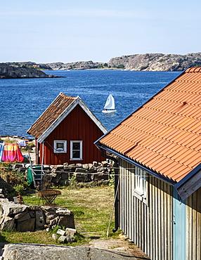 Timber houses in Fjallbacka, Bohuslan region, west coast, Sweden, Scandinavia, Europe