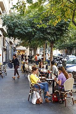 People sitting at a cafe in Hilel Street, Jerusalem, Israel, Middle East