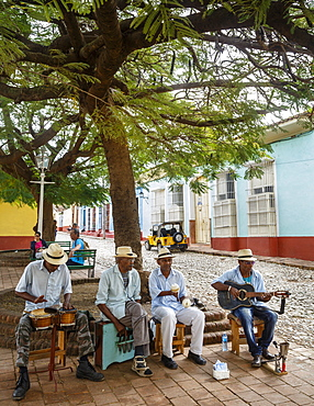 Music band playing in a square in Trinidad, Sancti Spiritus Province, Cuba, West Indies, Caribbean, Central America