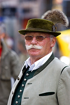 Portrait of a man in traditional Bavarian costume, Munich, Bavaria, Germany, Europe