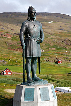 Statue of Leif Eriksson, son of Erik the Red in Qassiarsuk, South Greenland, Polar Regions