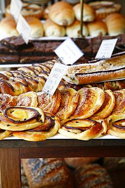 Traditional Danish pastry at Bager Lucas bakery in Tonder, Jutland, Denmark, Scandinavia, Europe