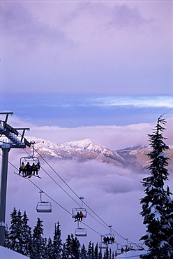Chair lift in the early morning, 2010 Winter Olympic Games site, Whistler, British Columbia, Canada, North America