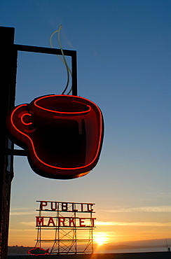 Neon sign for coffee, Post Alley, Seattle, Washington State, United States of America, North America