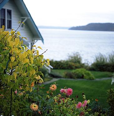 View of Puget Sound, Vashon Island, Washington State, USA