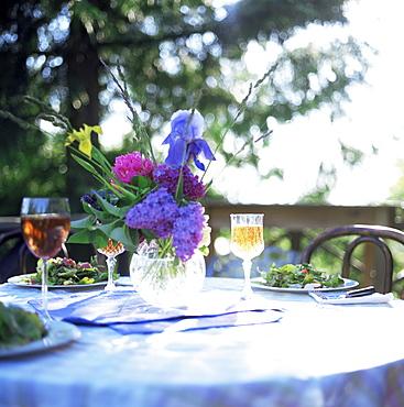 Table with salad, cider and flowers, Washington State, USA