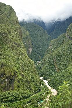 The Urubamba River flows below Machu Picchu, Peru, South America