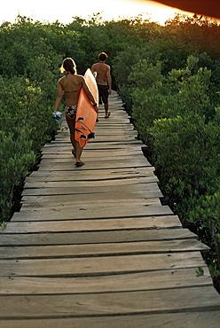 Boardwalk to surf from Cabinas las Olas, Avellanas Beach, Guanacaste State, northwest, Costa Rica, South America