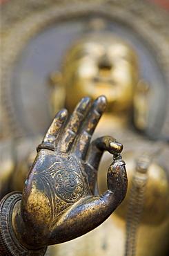 Statue of river goddess Jamuna, Mul Chowk courtyard, Durbar Square, Patan, Kathmandu Valley, Nepal, Asia