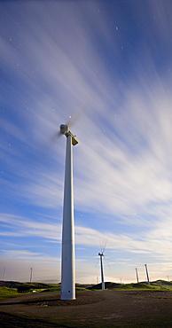 Windmills at dawn in Te Apiti Wind Farm, Palmerston North, Manawatu, North Island, New Zealand, Pacific