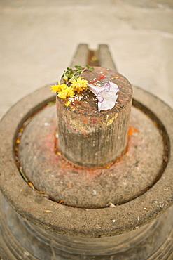 Stone Shiva lingam, an erotic phallic symbol, Durbar Square, Bhaktapur, Kathmandu valley, Nepal, Asia