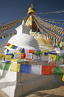 Buddhist stupa known as Boudha at Bodhanath, Kathmandu, Nepal. Taken at Lhosar, the Tibetan new year, hence the abundance of new prayer flags.