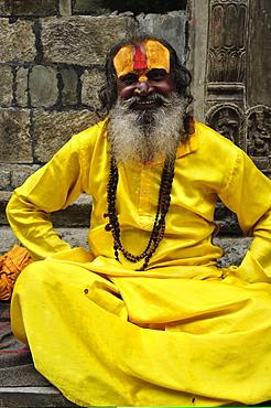 Portrait of Sadhu, Pashupatinath temple, UNESCO World Heritage Site, Kathmandu, Nepal, Asia