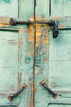 Close-up of locked door, Yangshuo, Guangxi Province, China, Asia