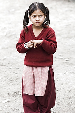 Portrait of a young Indian girl, Manali, Himachal Pradesh state, India, Asia