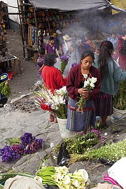 Flower vendors, Chichicastenango, Guatemala, Central America