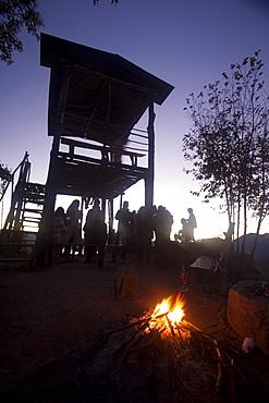 Tourists waiting for the sunrise, Indian Nose (Naris de indio), Lago Atitlan, Guatemala, Central America