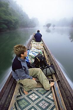 River taxi, Nam Tha river, Laos, Indochina, Southeast Asia, Asia