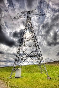 Cloudy Sky and Electricity Pylon, Germany, Munich, Bavaria