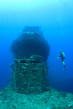 Bridge of USS Saratoga and Diver, Marshall Islands, Bikini Atoll, Micronesia, Pacific Ocean