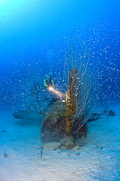 Diver and Propeller at Bomber near to USS Saratoga, Marshall Islands, Bikini Atoll, Micronesia, Pacific Ocean