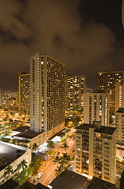 Honolulu by Night, Oahu, Pacific Ocean, Hawaii, USA