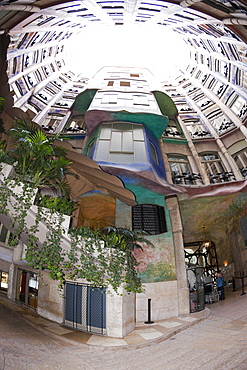 Casa Mila Atrium of Architect Antoni Gaudi, Barcelona, Catalonia, Spain