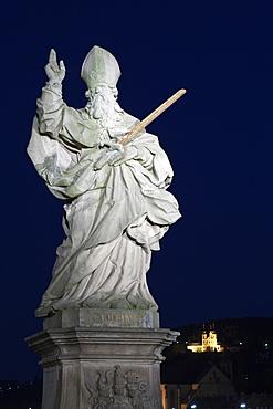 Statue on Old Main Bridge, Wuerzburg, Franconia, Bavaria, Germany