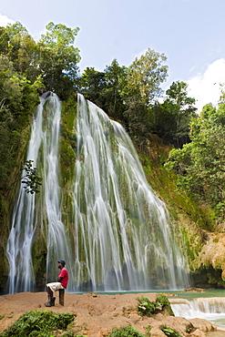 Waterfall, Cascada El Limon, Las Terrenas, Samana Peninsula, Dominican Republic, West Indies, Central America