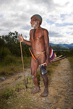Dani tribesman wearing penis gourd, Baliem Valley, West Papua, Indonesia, Southeast Asia, Asia