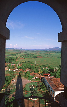 Rooftops of town and landscape of Valle de los Ingenios (Valley of Sugarcane Mills) from the Torre de Iznaga, Trinidad, Sancti Spiritus Province, Cuba