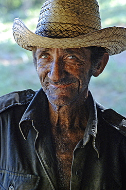 Portrait of a carbonero or charcoal maker near Vinales in Pinar del Rio Province in western Cuba, Cuba