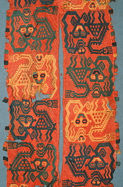 Paracas Culture, 300BC-100AD, funerary wrap with jaguar and monkey design on collar of mantle collection of the Museo Amano, Lima, Peru