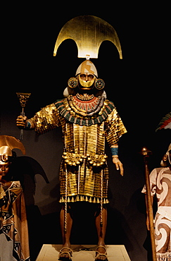 Gold Artifacts Moche (Mochica) Culture, 100 to 700AD, NCoast Lord of Sipan Tomb, c300AD reconstruction of Lord in ornaments denoting power and rank, Peru