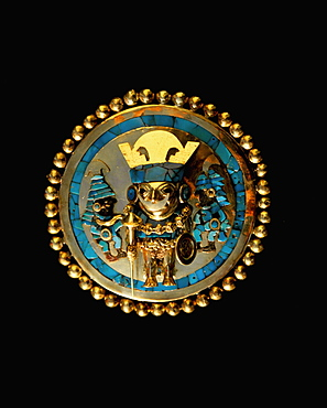 Gold Artifacts Moche (Mochica) Culture, 100 to 700AD, NCoast ear ornament from Lord of Sipan Tomb, 300AD, gold & turquoise 3-dimensional image of Lord, Peru