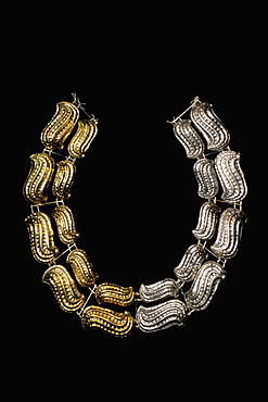 Gold Artifacts Moche (Mochica) Culture, 100 to 700AD, NCoast necklace from Lord of Sipan Tomb,300AD, with peanuts in symbolic duality of gold & silver, Peru