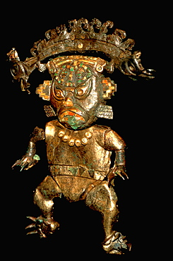 Gold Artifacts Moche (Mochica) Culture, 100 to 700AD, NCoast 'feline-man' fr Old Lord of Sipan Tomb, 200AD, gilded divinity reigns over sea, land & sky, Peru
