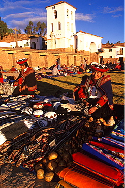 Chincheros, an ancient village near Cuzco its colonial church is built on Inca foundations and is famous for its weekly craft market, Highlands, Peru