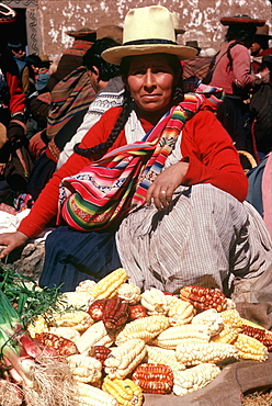 Chincheros, a traditional indian village near Cuzco with its famous weekly market vendor selling different types of corn, Highlands, Peru