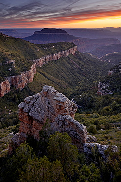 Steamboat Mountain at sunset from Locust Point, North Rim, Grand Canyon National Park, UNESCO World Heritage Site, Arizona, United States of America, North America