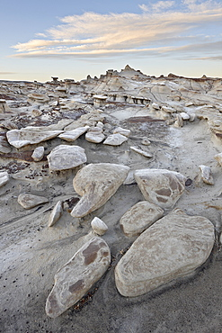 Rocks in the badlands at sunrise, Bisti Wilderness, New Mexico, United States of America, North America
