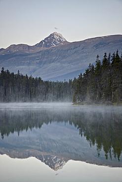 Mount Edith Cavell reflected in Leach Lake, Jasper National Park, UNESCO World Heritage Site, Alberta, Canada, North America