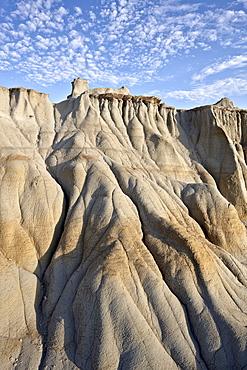 Badlands with clouds, Theodore Roosevelt National Park, North Dakota, United States of America, North America