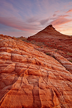 Wavy orange and white sandstone at sunrise, Valley Of Fire State Park, Nevada, United States of America, North America