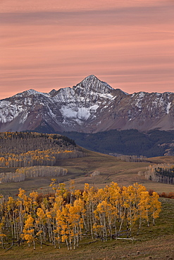 Wilson Peak at dawn with a dusting of snow in the fall, Uncompahgre National Forest, Colorado, United States of America, North America