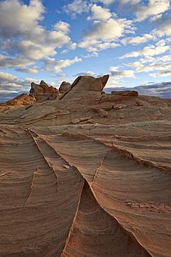 Ridges in sandstone under clouds, Coyote Buttes Wilderness, Vermillion Cliffs National Monument, Arizona, United States of America, North America