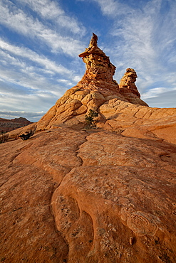 Sandstone formations under clouds, Coyote Buttes Wilderness, Vermilion Cliffs National Monument, Arizona, United States of America, North America