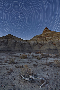 Star trails over the badlands, Bisti Wilderness, New Mexico, United States of America, North America