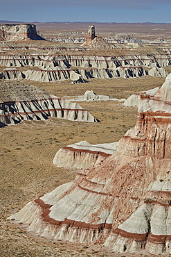 Badlands with red layers, Hopi Reservation, Arizona, United States of America, North America