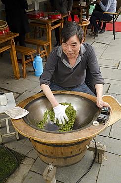 Drying tea near Lingyin Temple, Hangzhou, Zhejiang province, China, Asia